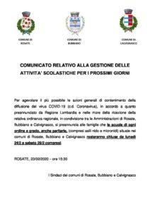 Emergenza COVID 19 – CORONAVIRUS – Comunicato relativo alla gestione delle attività scolastiche per i prossimi giorni