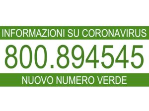 Numero verde per informazioni CORONAVIRUS