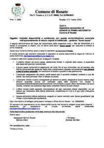 """Misure urgenti di solidarietà – gestione """"buoni spesa"""""""