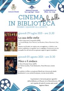 Cinema in biblioteca sotto le stelle!