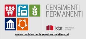 Censimento permanente della popolazione e delle abitazioni 2021 – Avviso pubblico per la selezione dei rilevatori – Scadenza 10 agosto 2021